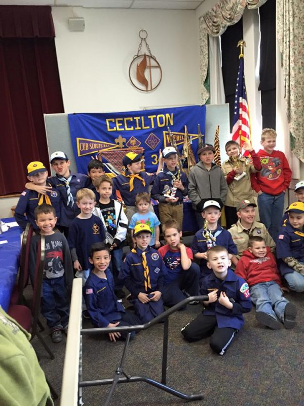 Cub Scouts posing for ph oto