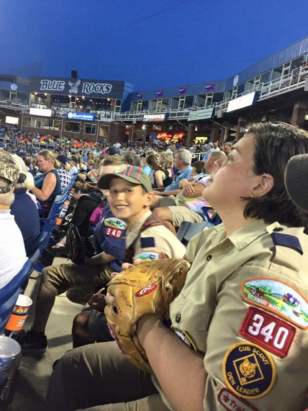 Scouts in stands at Blue Rocks stadium