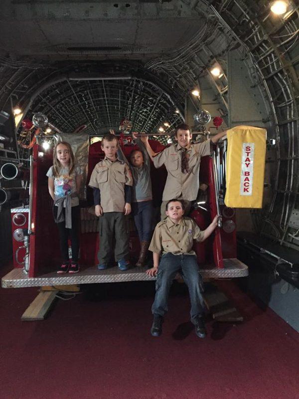 Scouts inside a firetruck