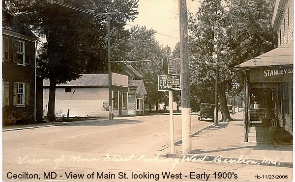 Postcard of Main street looking west from the early 1900s