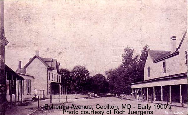 Postcard of Bohemia Avenue in Cecilton from the early 1900s