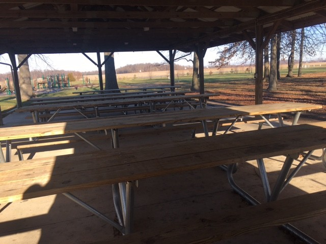 Picnic tables inside the shelter in park