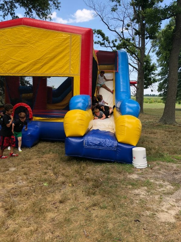 Blow up slide and bouncy castle