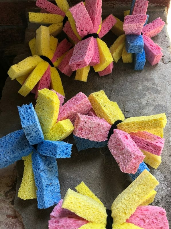 colorful sponges wrapped together to use as toys