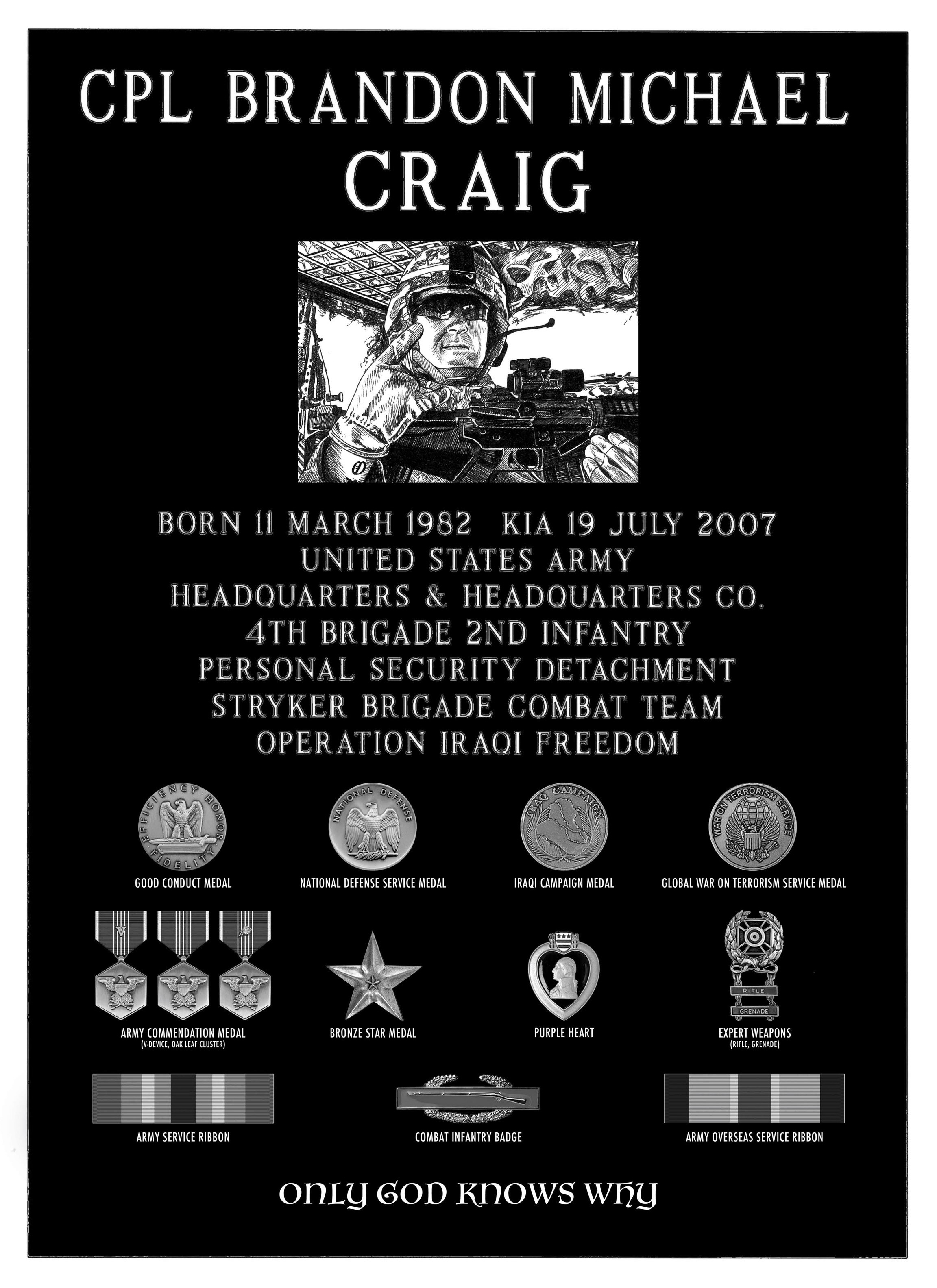Corporal Brandon Michael Craig Memorial plaque