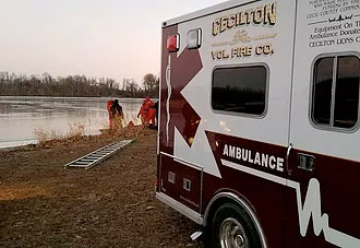 Cecilton ambulance parked near body of water