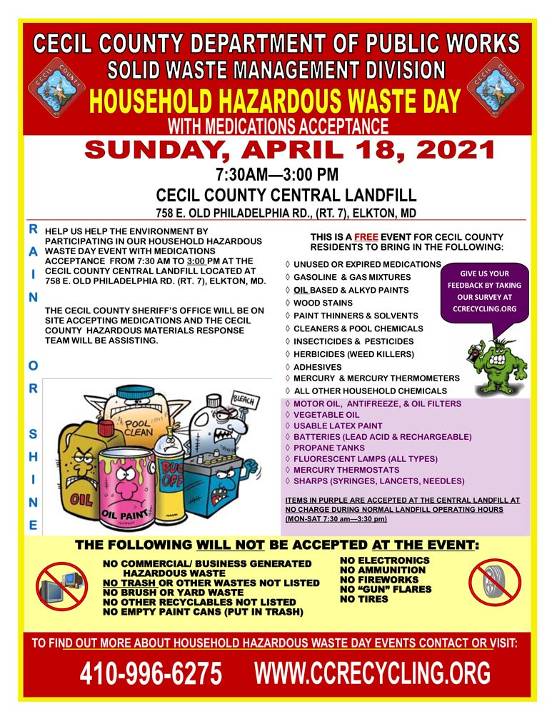 2021 Spring Household Hazardous Waste Day, April 7, 2021