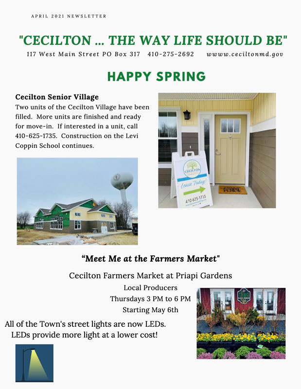 First page of the April 2021 newsletter